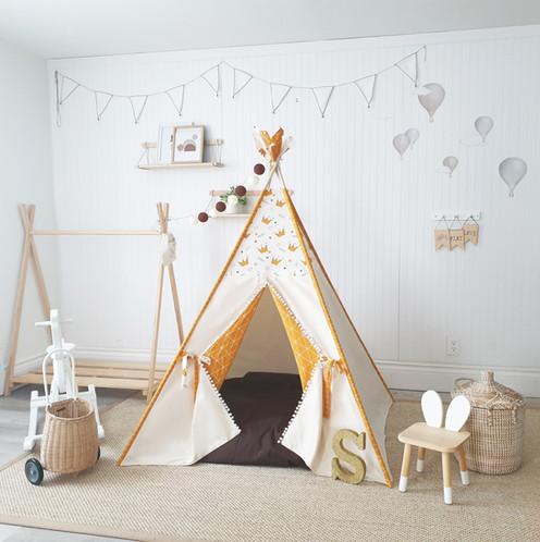 Little Prince Yellow Beige boy play teepee tent