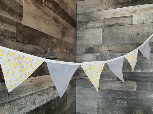 2 Patterns Fabric Flag Banner. Yellow Polka Dot on Grey