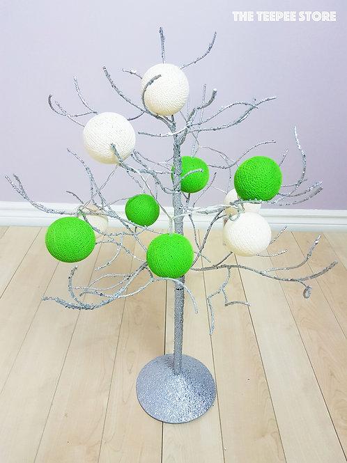 Lime Green/Beige Cotton Balls String Light