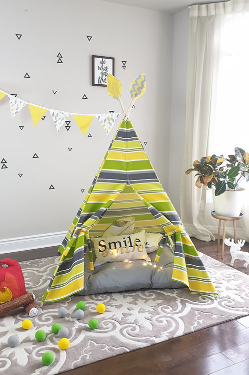 Green Yellow White Grey Stripes Outdoor fabric Play Teepee Tent