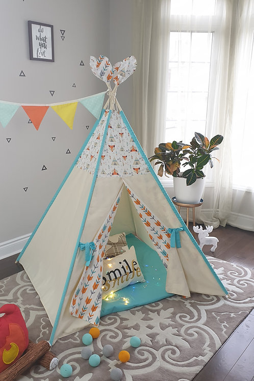 Orange Fox and Teepee Combo with Outside pole's sleeves Tent