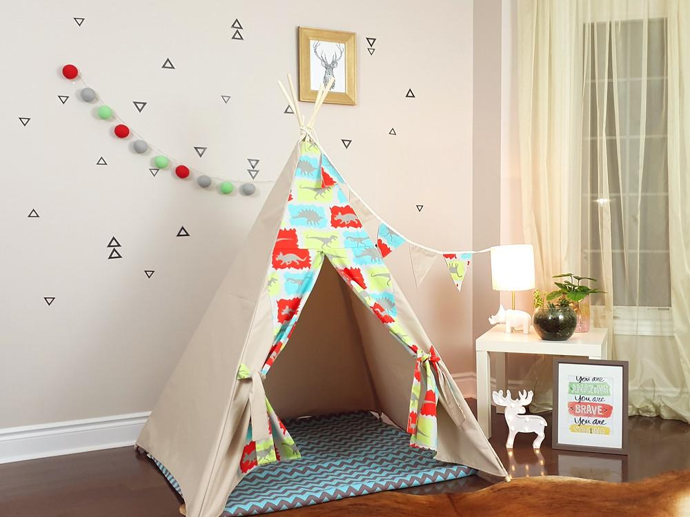 Dino Jurassic Park boy's play teepee tent