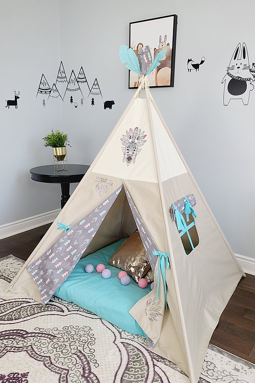 ZebraFeather Arrows Taupe Girl Teepee Tent