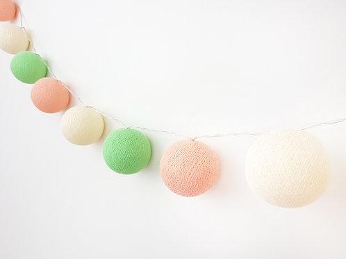 Peach, Ivory, Light Green Cotton Balls String Light