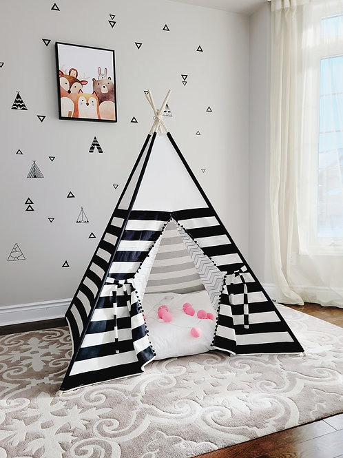 Black and White Stripes Blue zig-zag with Pompoms Teepee