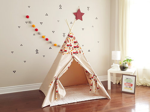 Fireman and a Truck Teepee with Toy Pockets.