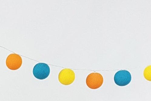 Teal, Orange, Yellow Cotton Balls String Light
