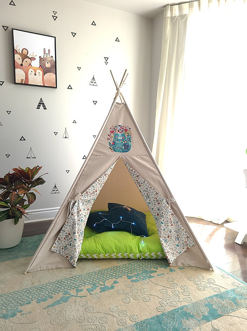 Cat in Flowers Taupe Teepee Tent