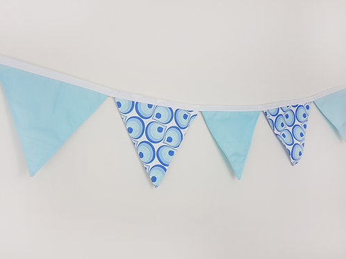 2 Patterns Fabric Flag Banner. Blue White Drops