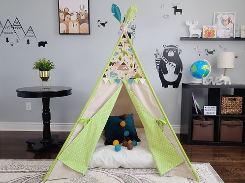 Dino World Green Flag Bunting Play Teepee Tent for boys