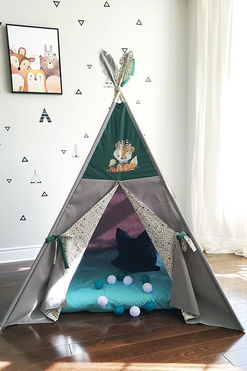 Wild and Free Fox Dark Grey Teepee Tent Double Sided Doors