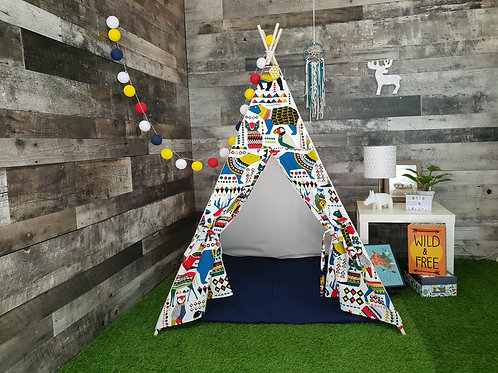 Aztec Jungle Teepee. Blue / Red.