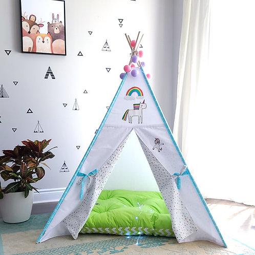 Rainbow Unicorn White Teepee Tent with Rain Drops