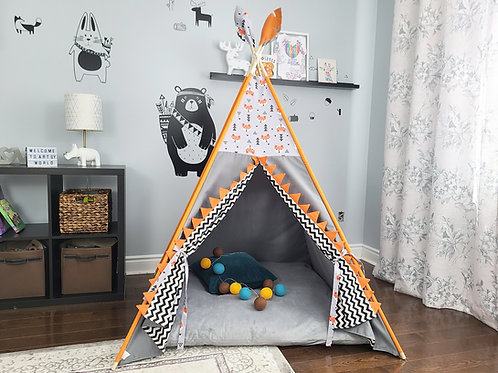 Orange Fox and Triangles Grey Play Teepee Tent