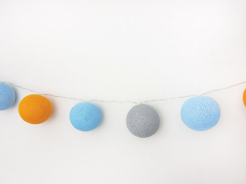 Orange, Light Blue, Grey Cotton Balls String Light
