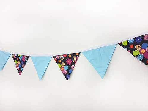 2 Patterns Fabric Flag Banner. Multi-colour flowers and blue.