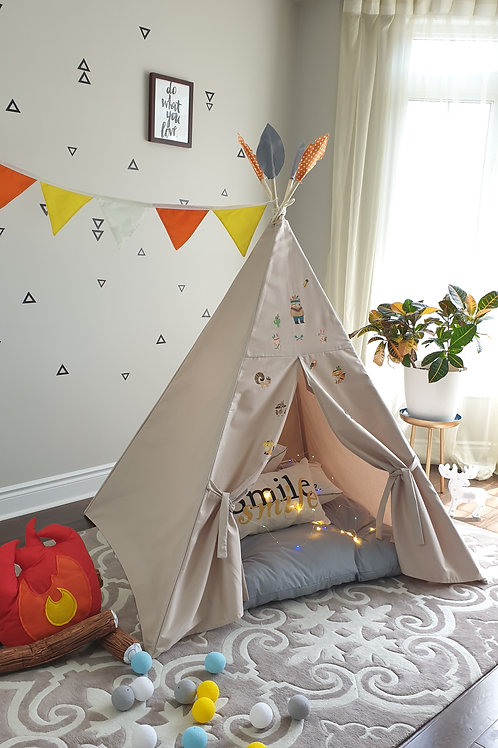 Taupe Fabric with Native Animals patches Kids Tent
