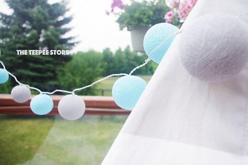 Blue/Grey Cotton Balls String Light