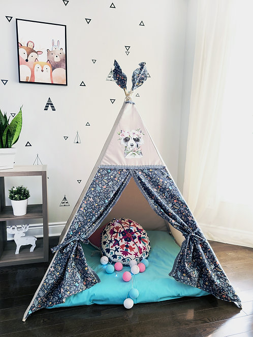 Racoon with flowers Teepee Tent Double Sided Doors with trim
