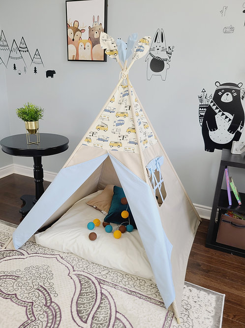 Retro RV Trailer Blue doors Play Teepee Tent for boys