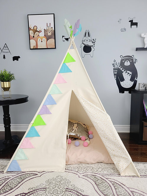 Multi-coloured Flag Bunting and Golden Arrows Ivory Girls Play Teepee Tent