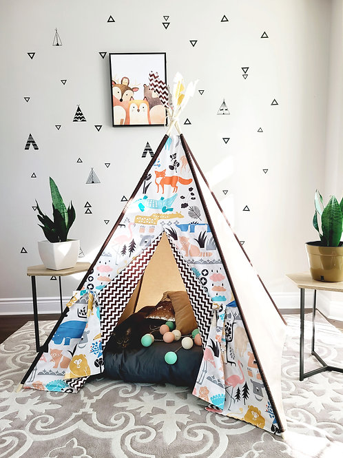 Amazing Zoo with Brown & White Zig-zag Unisex Play Teepee