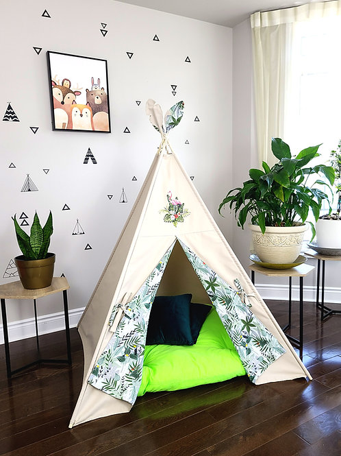Flamingo Patch on Taupe Teepee Tent with Monstera Jungle Plant Print.