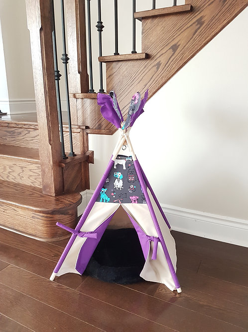 Best Friends Grey and Purple double-sided doors pet's teepee tent.