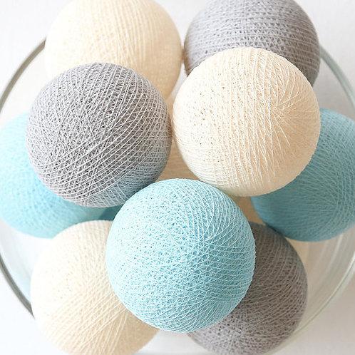 Beige/Grey/Blue Cotton Balls String Light
