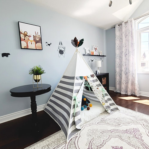 Grey and White Stripes with Fairy Tail Pattern Play Teepee Tent