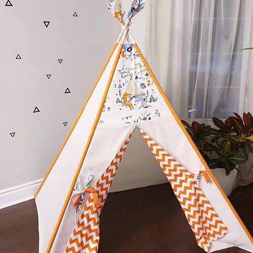 Happy Campers Orange Zig-zag Doors Unisex Teepee