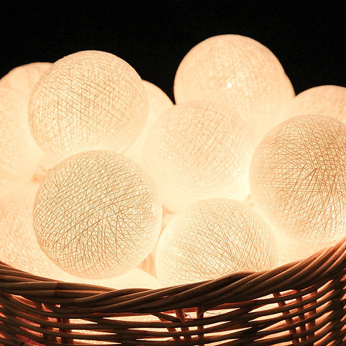 White Cotton Balls String Light