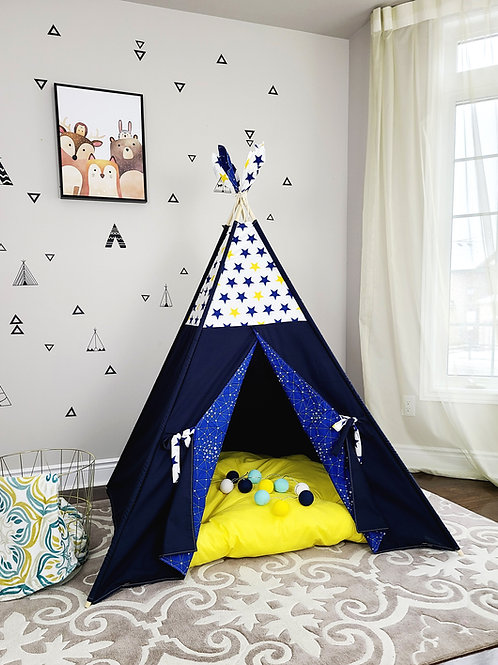 Navy Yellow Stars Night Sky Teepee Tent Double Sided Doors