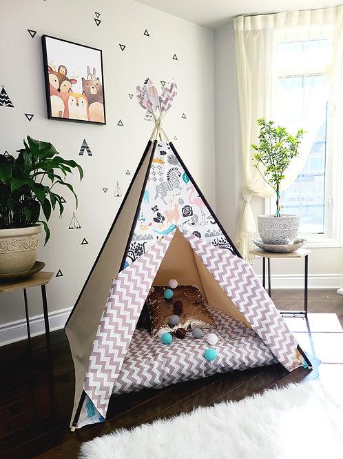 Amazing Zoo with Taupe Zig-zag Unisex Play Teepee Tent