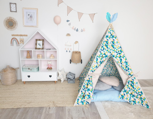 multi-colour unisex teepee tent with taupe colour turquoise blue yellow