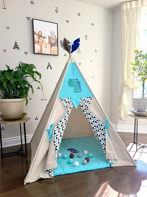 Call me ROAR Boy's Play Teepee Tent with Matching Floor Mat