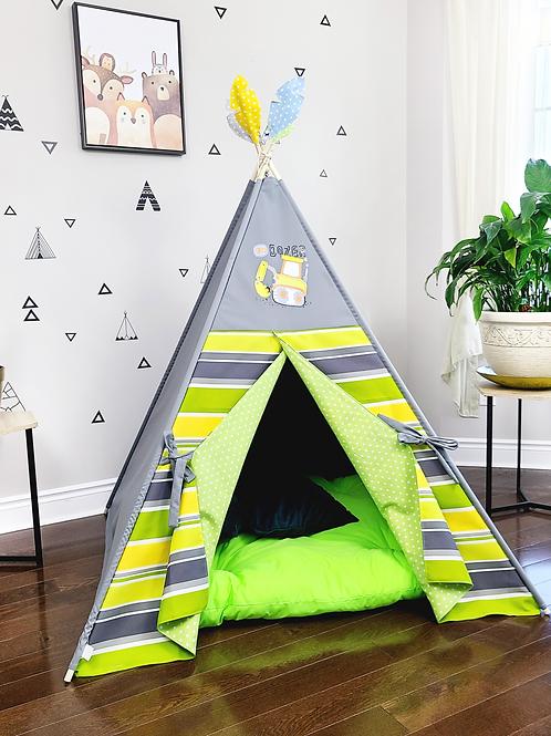 GoDozer Green Yellow WhiteStripes Grey Boy's Play Teepee Tent