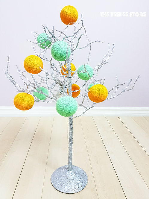 Orange, Light Green Cotton Balls String Light