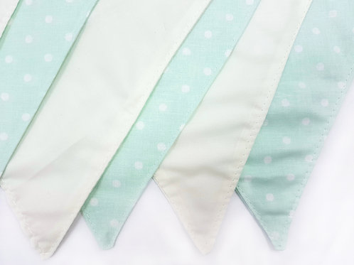 2 Patterns Fabric Flag Banner. Mint Polka Dot and Ivory