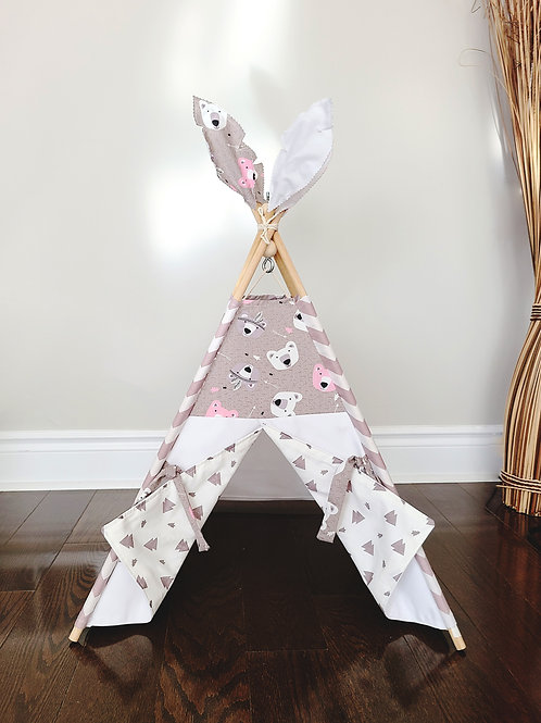 White Bears Triangles Lining pet doll kid teepee tent.