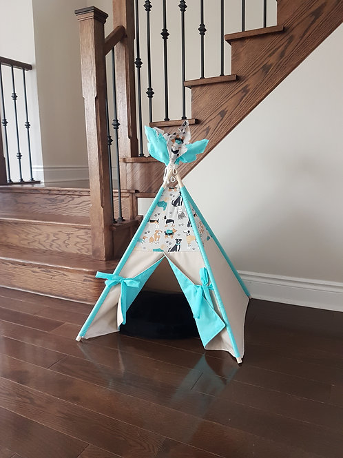 Best Friends Turquoise double-sided doors pet's teepee tent.
