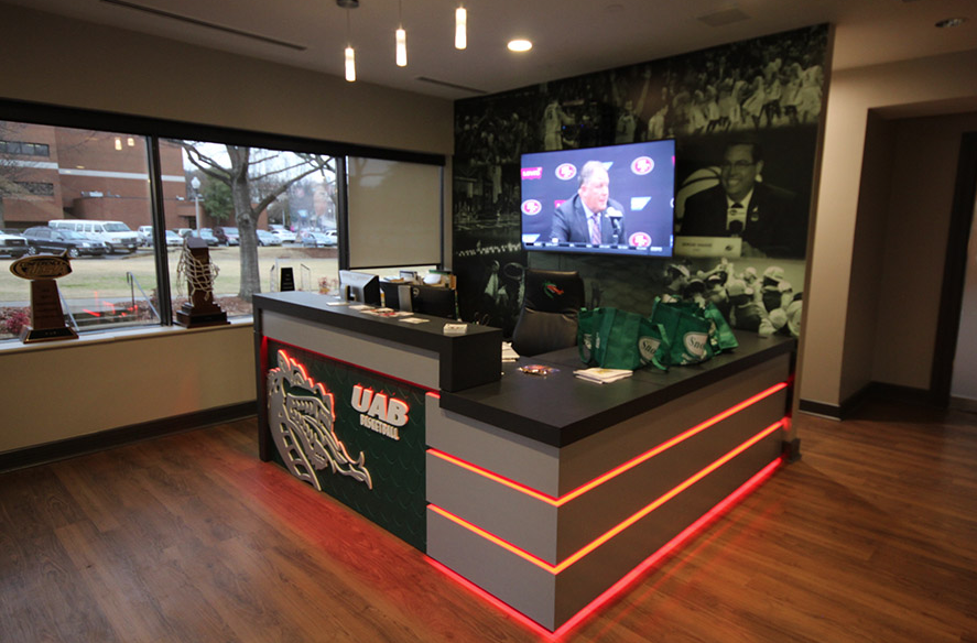 UAB Coaches office reception desk