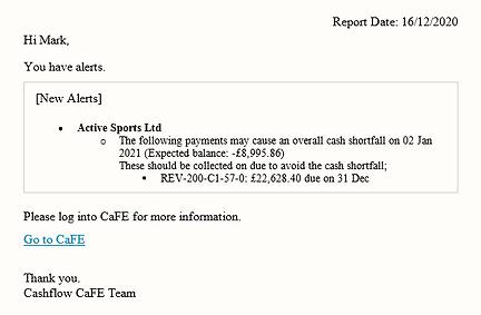 Cash Flow Management E-mail Alerts