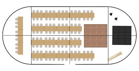 Suggested floor plan for a 117-guest medium package