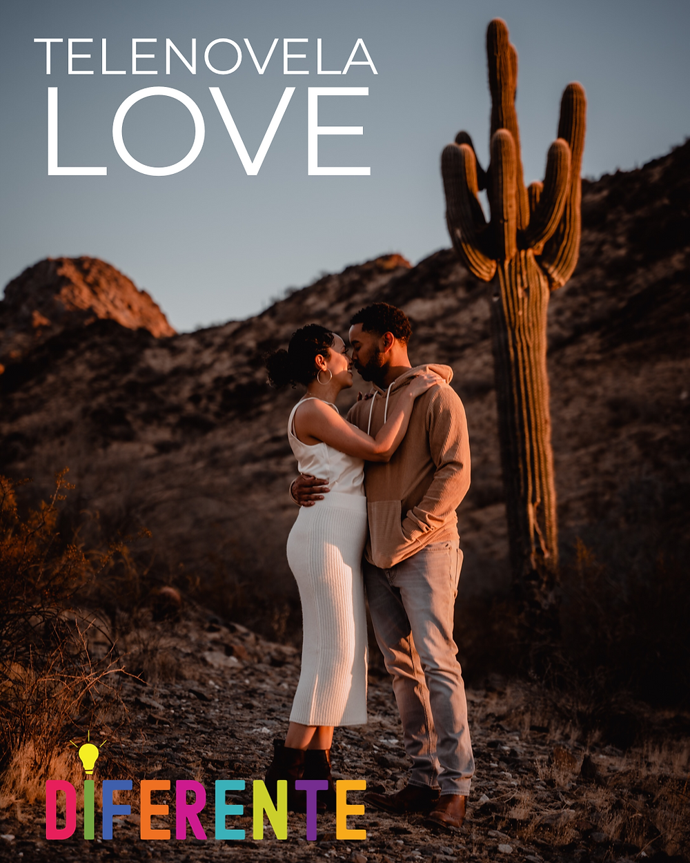 Maribel Quezada Smith, host of DIFERENTE, and her husband Doug Smith, embracing in front of a Saguaro cactus at a hiking trail in Phoenix, at sunset.