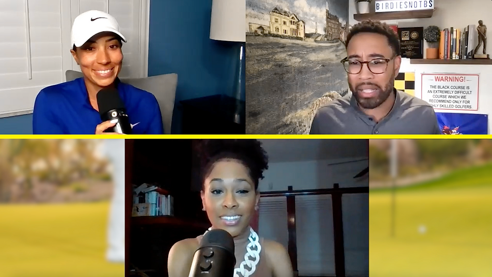 Cheyenne Woods, Doug Smith and Tareya Palmer on video chat discussing fashion for episode 69 of Birdies Not BS.
