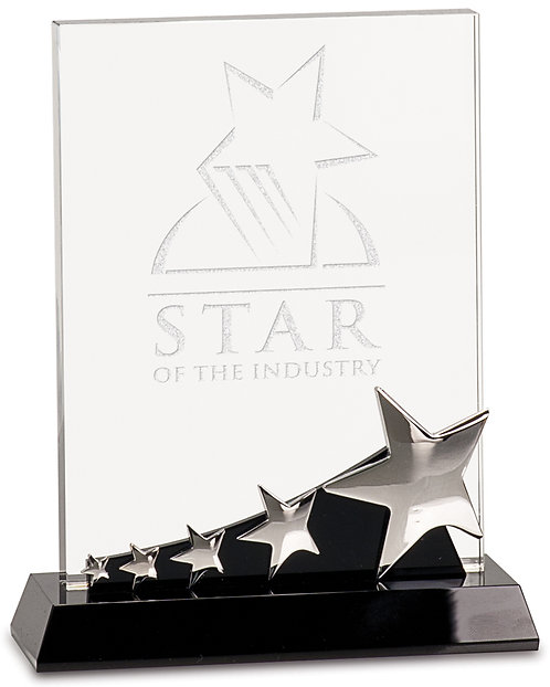 Premier Rectangle Crystal Silver Star on Base
