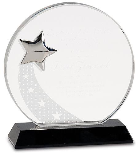 Premier Round Crystal Silver Star on Black Base