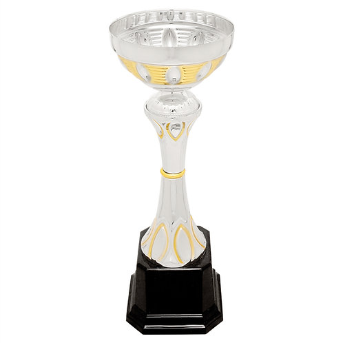 Silver/Gold Completed Metal Cup Trophy on Plastic Base