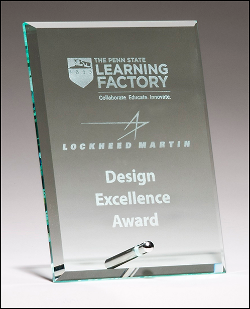 Clear Glass Award with Silver Plated Easel Post